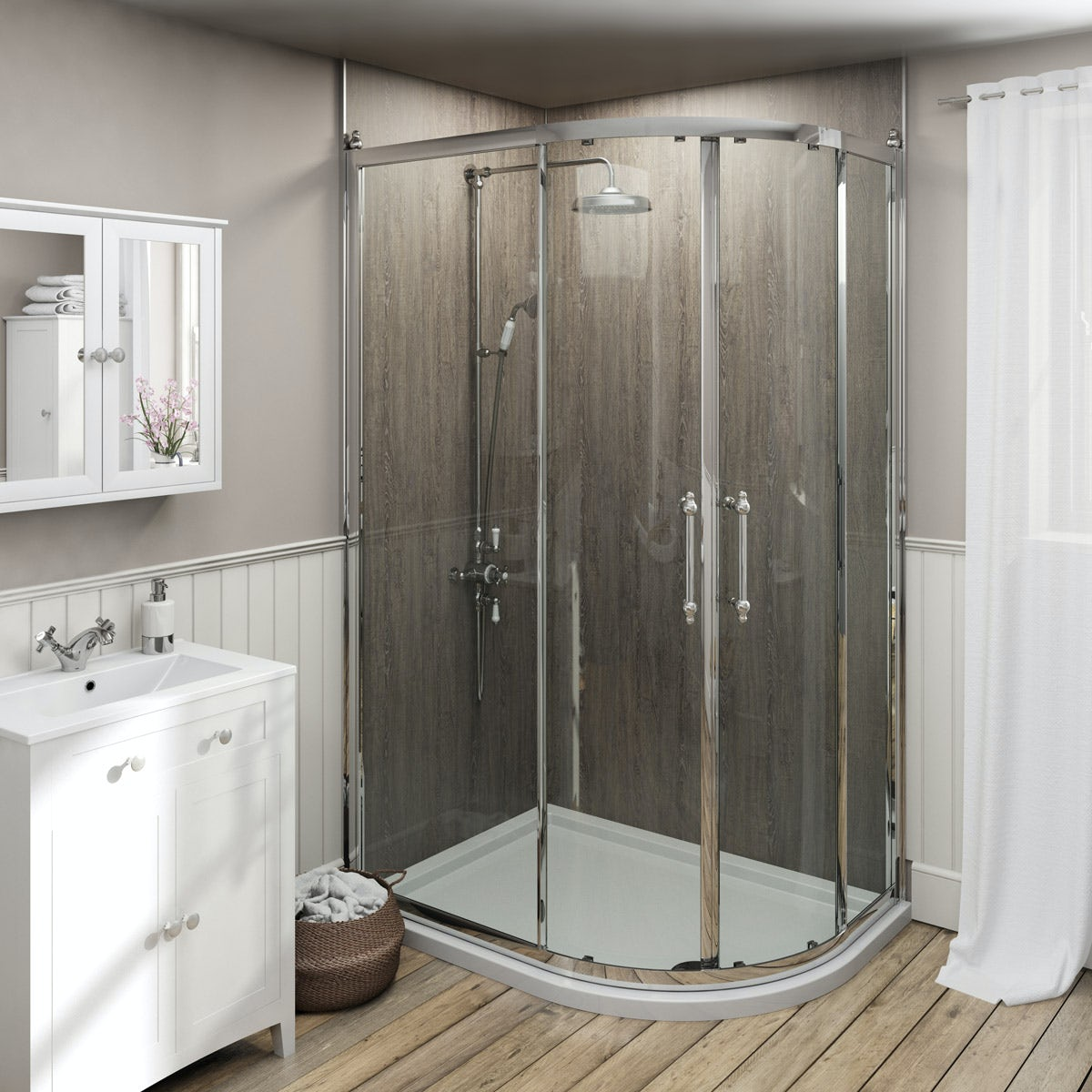 The Bath Co. Camberley traditional 8mm offset quadrant shower enclosure 1200 x 800