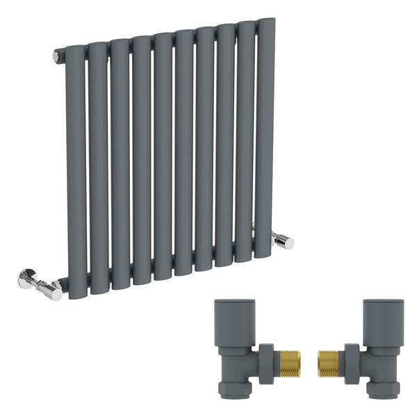 Mode Tate anthracite grey single horizontal radiator 600 x 600 with angled valves