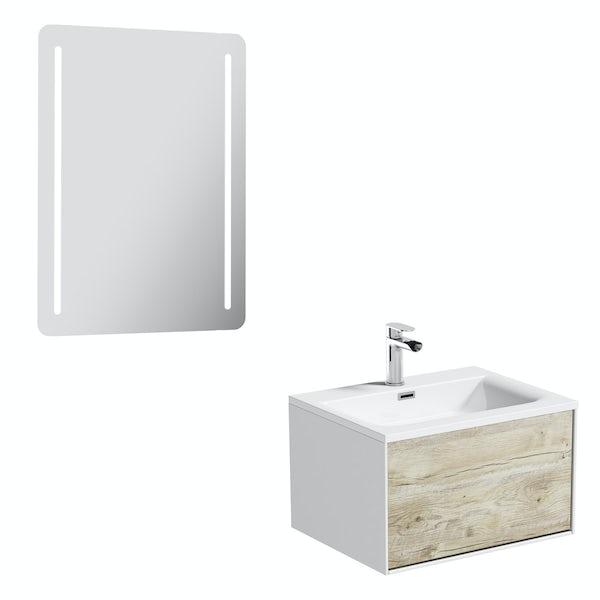 Mode Burton white & rustic oak wall hung vanity unit 600mm & LED mirror offer