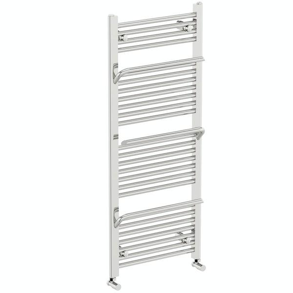 Mode Rohe chrome heated towel rail with hangers 1200 x 500