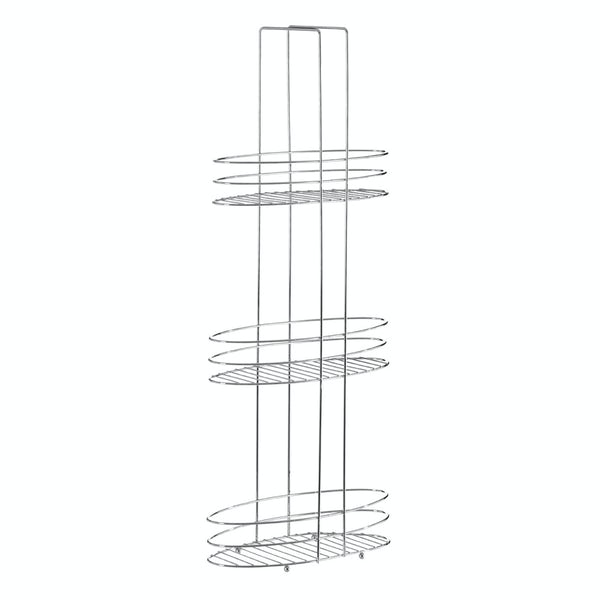 Freestanding square 3 tier chrome bathroom organiser