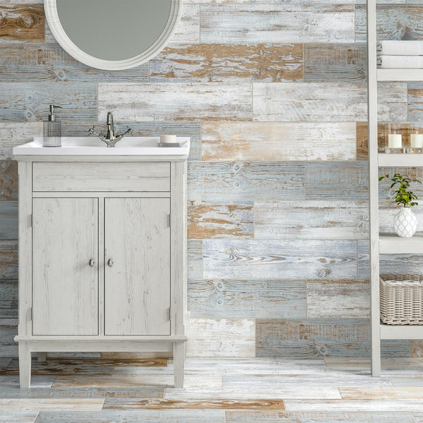 Basswood blue wood effect matt wall and floor tile 150mm x 600mm