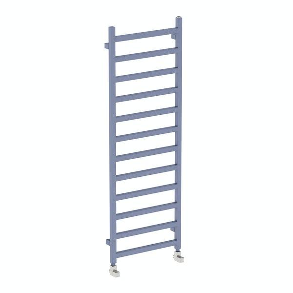 Simple pigeon blue heated towel rail 1440 x 500
