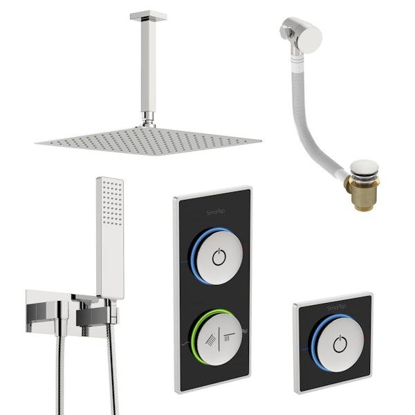 SmarTap black smart shower system with complete square ceiling shower outlet bath set