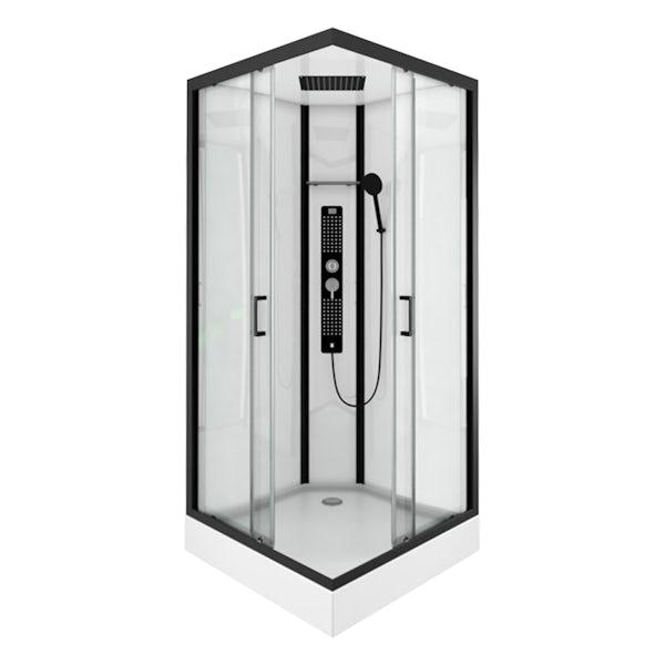 Insignia Monochrome black framed square hydro-massage shower cabin 900 x 900