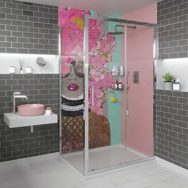 Louise Dear Kiss Kiss Bam Bam acrylic shower wall panel with 1200 x 800mm rectangular enclosure