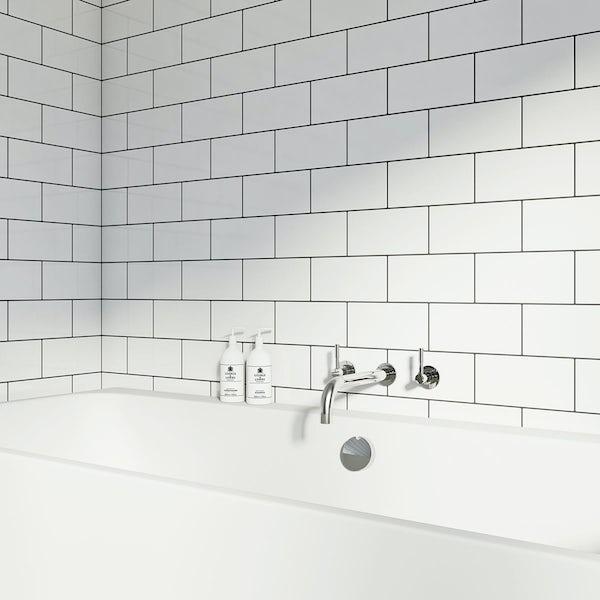 Flat gloss white brick tile 100mm x 200mm
