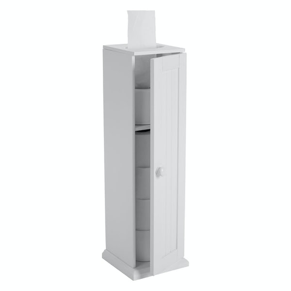 Accents Portland white wood freestanding  toilet roll storage