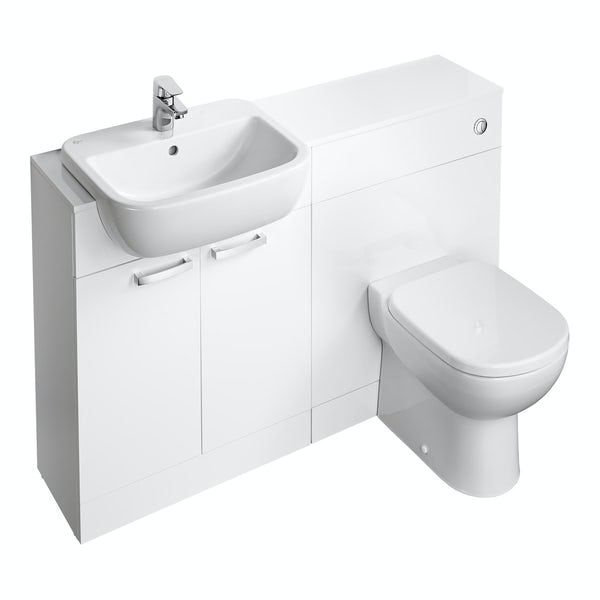 Ideal Standard Tempo gloss white 1300 combination unit with toilet and seat
