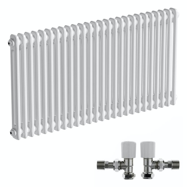The Bath Co. Camberley white 2 column radiator 600 x 1194 with angled valves