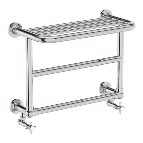 The Bath Co. Winchester chrome wall mounted heated towel rail 450 x 600 offer pack