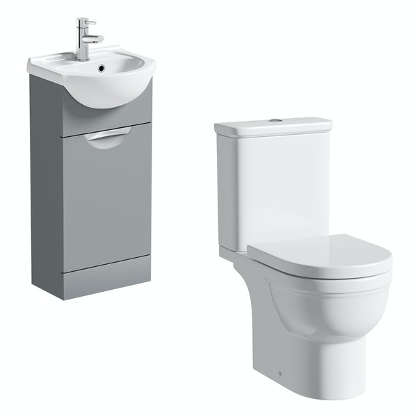 Orchard Elsdon stone grey cloakroom suite with Elsdon close coupled toilet and soft close seat