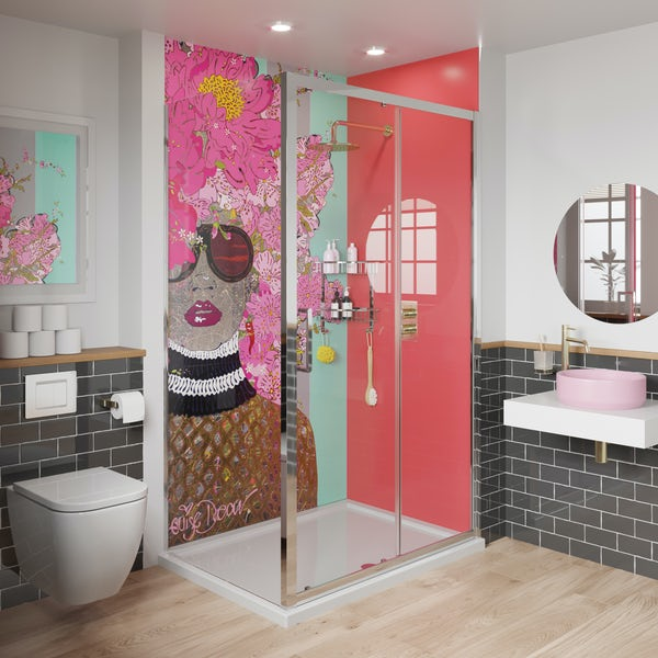 Louise Dear Kiss Kiss Bam Bam Hot Pink acrylic shower wall panel pack with rectangular enclosure