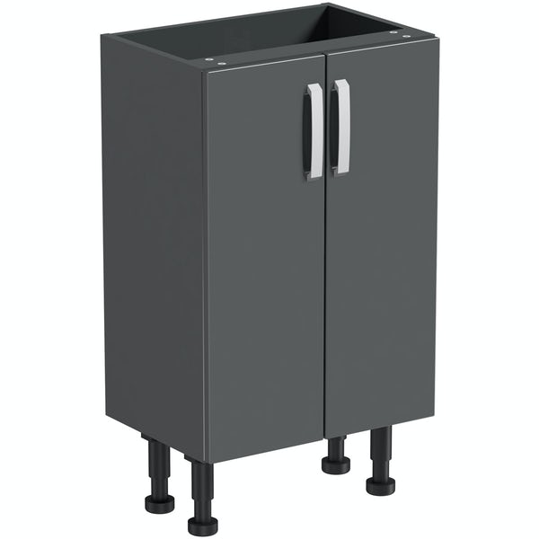 Mode Nouvel gloss grey floor cabinet 500mm