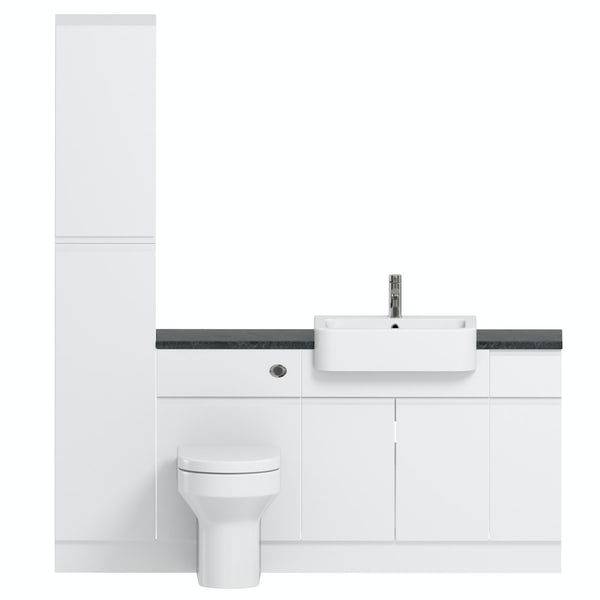 Reeves Wharfe white straight small storage fitted furniture pack with black worktop