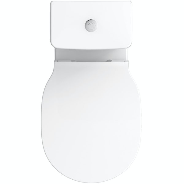 Ideal Standard Concept Air wood light grey open vanity unit and close coupled toilet