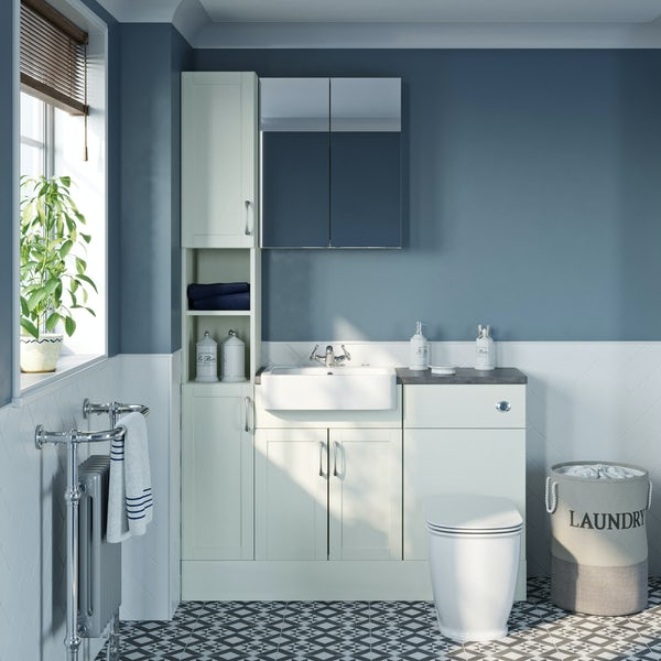 The Bath Co. Newbury white tall fitted furniture & mirror combination with mineral grey worktop