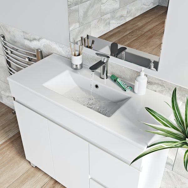 Orchard Thames white floorstanding vanity unit and ceramic basin 915mm