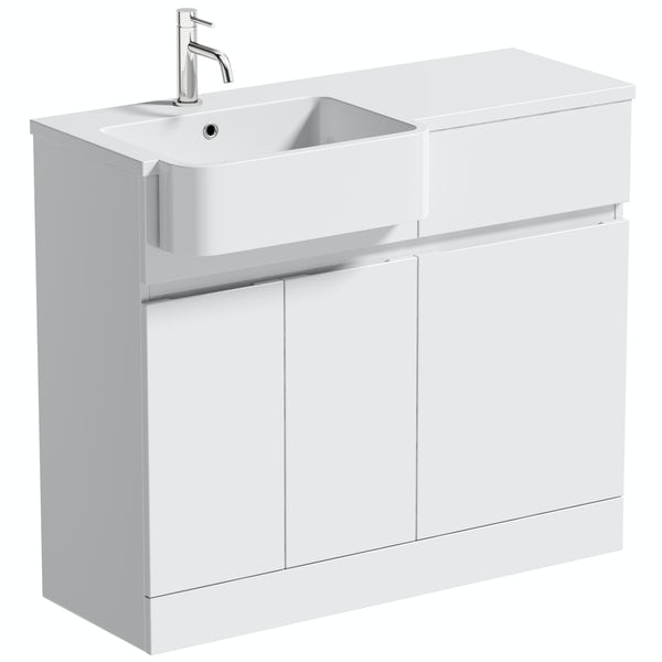 Mode Roche white floorstanding vanity and semi-recessed basin 1000mm