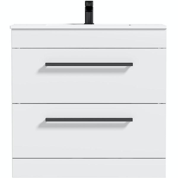 Orchard Derwent white floorstanding vanity unit with black handle and ceramic basin 800mm