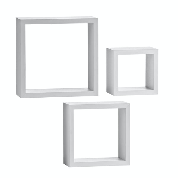 Set of 3 white wall cubes