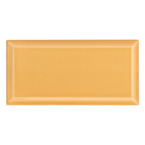 Deep Metro mustard bevelled gloss wall tile 100mm x 200mm