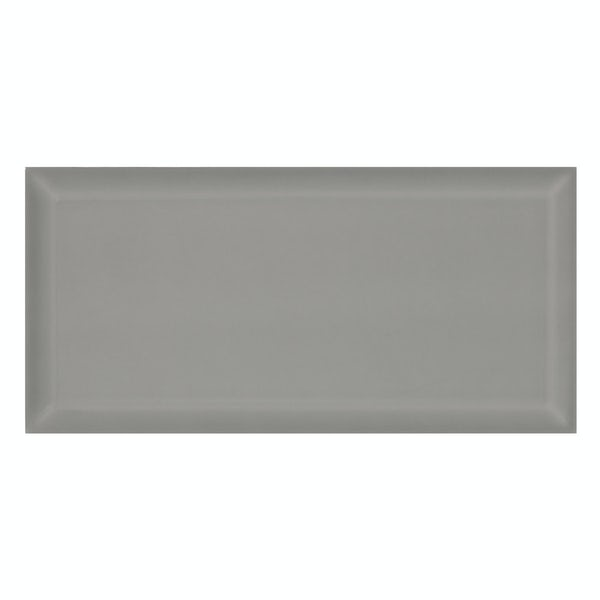 Deep Metro light grey bevelled gloss wall tile 100mm x 200mm