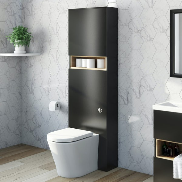 Mode Tate anthracite black & oak tall back to wall unit with contemporary toilet and seat