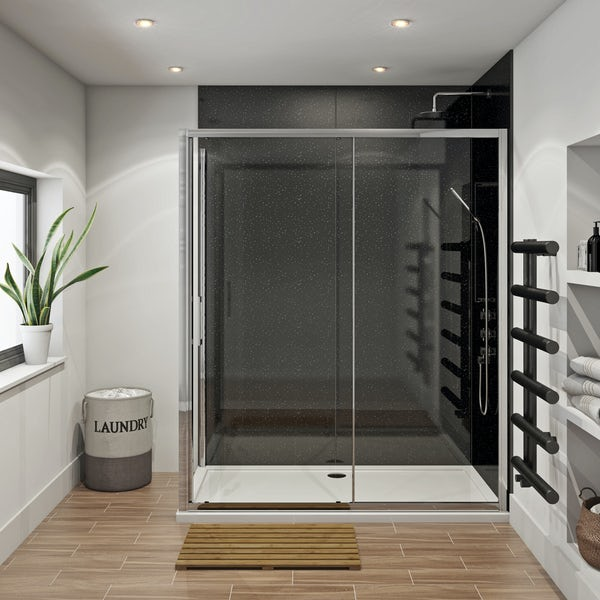 Mode Hardy shower enclosure pack 1700 x 700 with Multipanel Economy Moonlit quartz shower wall panels