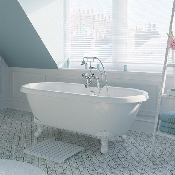 The Bath Co. Dulwich roll top freestanding bath with white claw feet 1695 x 740