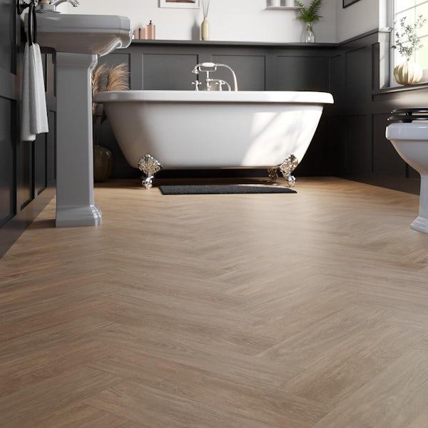 Cree Golden oak herringbone water resistant laminate flooring 8mm