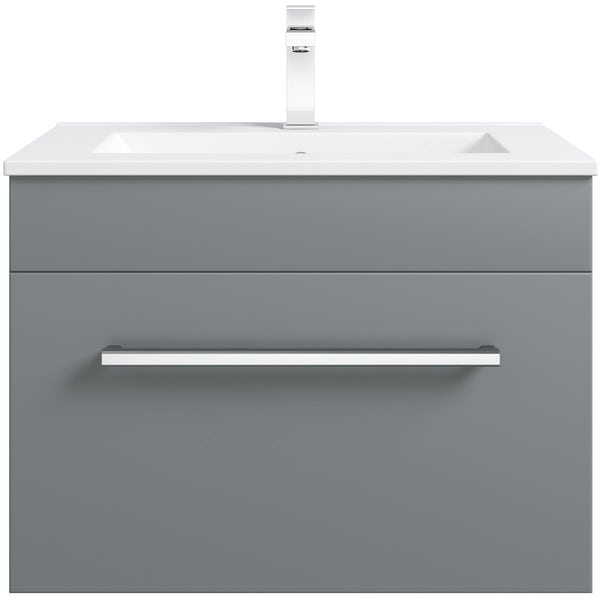 Orchard Derwent stone grey wall hung drawer unit and basin 600mm