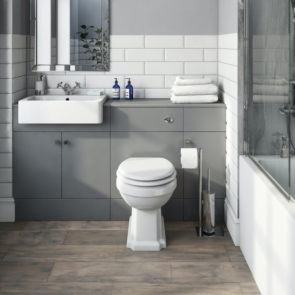 The Bath Co. Hatfield grey 1468mm combination with traditonal back to wall toilet and soft close seat