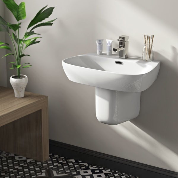 Mode Foster 1 tap hole semi pedestal basin 600mm