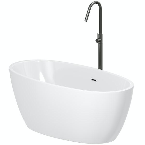 Mode Heath freestanding bath & tap pack with Spencer black bath filler
