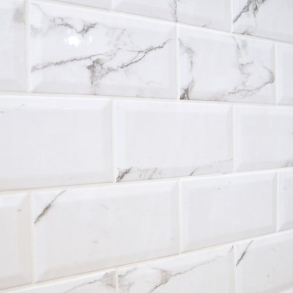 Metro carrara white bevelled brick wall tile 100mm x 200mm