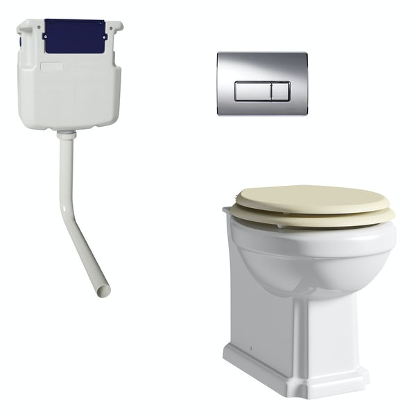 The Bath Co. Camberley back to wall toilet with ivory soft close seat, concealed cistern and push plate