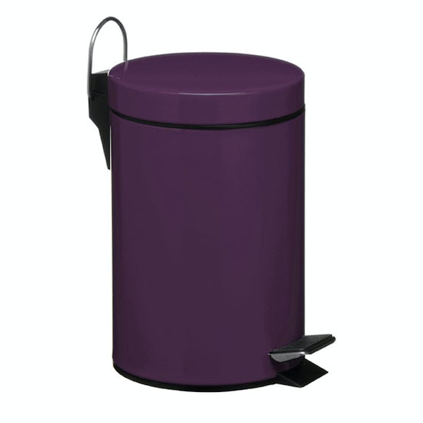 Purple round 3 litre bathroom pedal bin