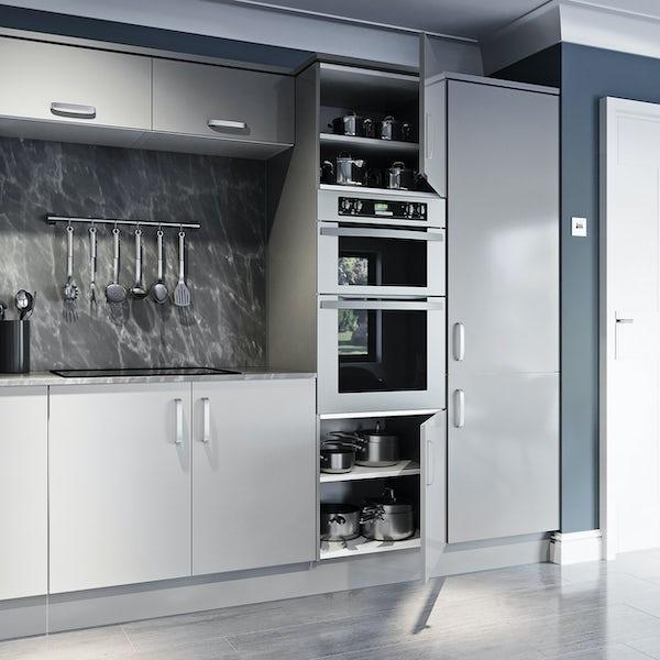 Schon Boston light grey slab 600mm double oven housing unit