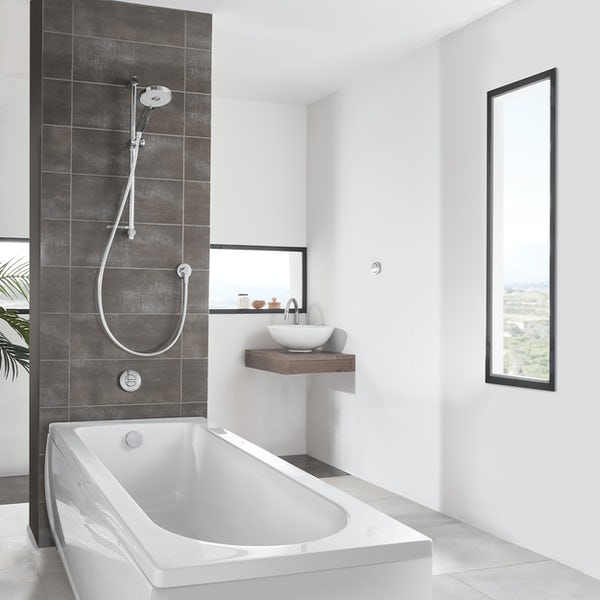 Aqualisa Unity Q Smart concealed shower standard with adjustable handset and bath filler with overflow