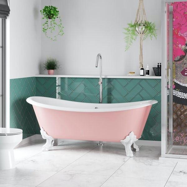 Artist Collection Lush Blush Light Pink traditional freestanding bath & tap pack