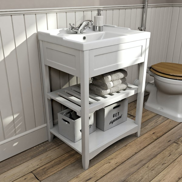 The Bath Co. Camberley white washstand with traditional basin 600mm
