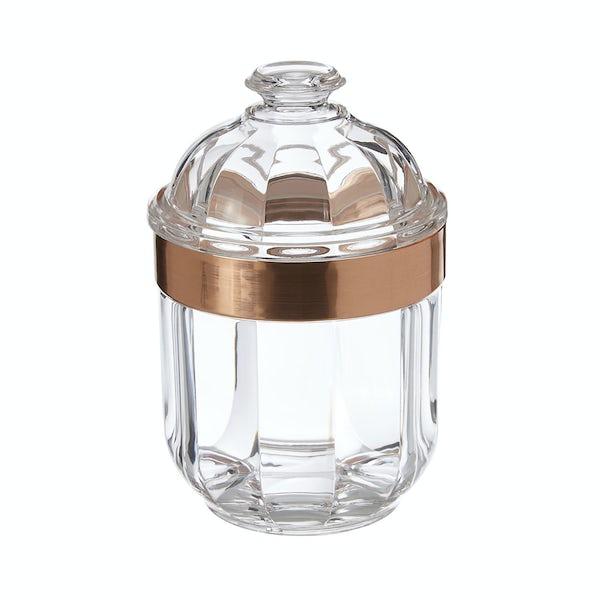 Rose gold small acrylic storage jar