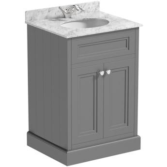 The Bath Co. Chartham slate matt grey floorstanding vanity unit and white marble basin 600mm