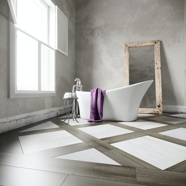 Carlton grey wood effect matt wall and floor tile 200mm x 1200mm
