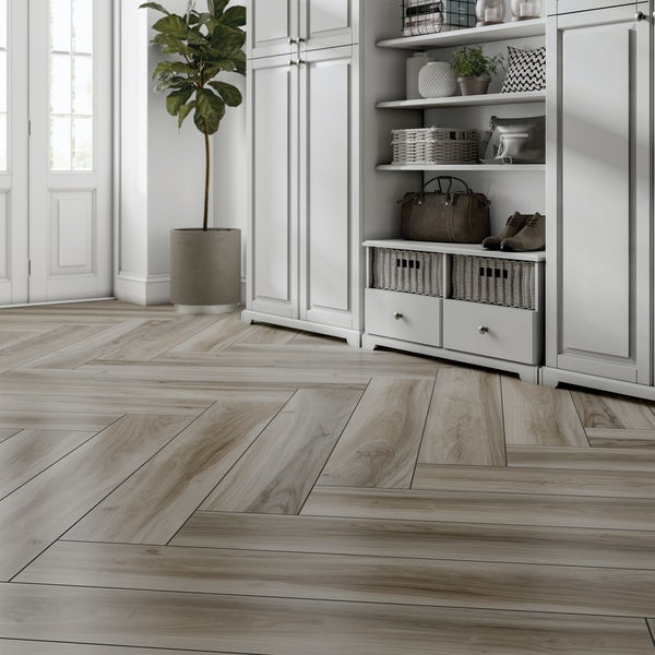 Langley acacia wood effect matt wall and floor tile 200mm x 1200mm