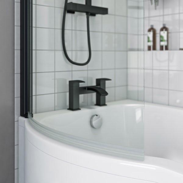 Orchard 6mm matt black P shaped shower bath screen with rail