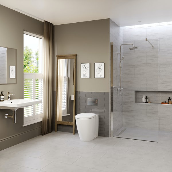 Ideal Standard Concept Freedom complete wet room suite 1000mm with back to wall toilet
