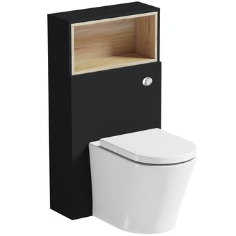 Mode Tate anthracite black & oak slimline back to wall unit and toilet with soft close seat