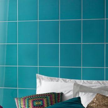 V&A turquoise blue gloss tile 198mm x 198mm